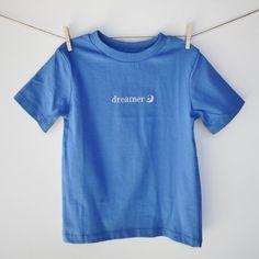 """Organic toddler t-shirt - """"dreamer"""" - in blueberry (blue)"""