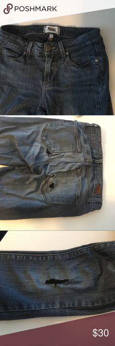 Paige denim skinny jeans Used paige denim size 24 length 29. Good condition denim, just worn in and a little torn. PAIGE Jeans Skinny