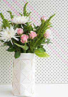 DIY Faux Leather Geometric Vase Tutorial