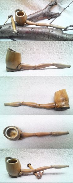 Bamboo smoking pipes no1.  - Bamboo Handcut Pipe.  -Bowl: Bamboo with Meerschaum insert - Stem:Natural Bamboo bough