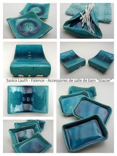 "Ceramics by Atelier Saskia Lauth / France - ""Glacier"" series, 2015, soap dishes & other bathroom accessories (white clay, turquoise glaze) - www.saskia-lauth.com"