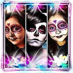 First attempt at sugar skull on my daughter middle pic was my inspiration....