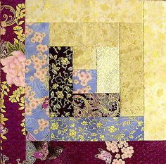 Hoffman Metallic 12 Block Log Cabin Pre Cut Quilt Kit 29x39 Asian Peony Plum | eBay