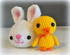 Easter bunny and chick free amigurumi patterns.  Need to learn to crochet!!!