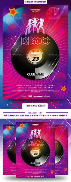 Buy Disco Party Flyer by prowebmedia on GraphicRiver. Disco Party Flyer in 300 dpi CMYK, ready for print. The flyer template comes as a Photoshop psd file in the sizes of:. Disco Party, Party Party, Disco Disco, Club Poster, Party Poster, Birthday Party Decorations, Party Themes, Music Flyer, Music Music