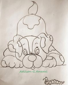 Dog and worm Applique Patterns, Embroidery Applique, Quilt Patterns, Embroidery Designs, Pencil Art Drawings, Animal Drawings, Easy Drawings, Coloring Books, Coloring Pages