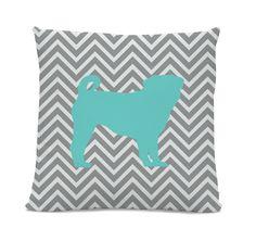 Chevron Teal Pug Pillow - Pug Silhouette Pillow - Gray Chevron Pillow - dog breed pillow - Pug Decor - Dog Pillow