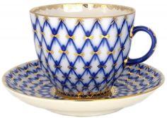Lomonosov Porcelain Tulip Espresso Coffee Cup Cobalt Net 4.7 oz/140 ml