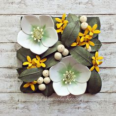 Spring Decor with Hellebore and Forsythia Flowers - White Yellow Flowers Wall Art - Botanical Decor - Paper Anniversary Gift for Her - maya Paper Quilling Designs, 3d Quilling, Quilling Flowers, Quilling Patterns, Quilling Cards, Paper Flowers, Paper Anniversary, Anniversary Gift For Her, Organic Glass