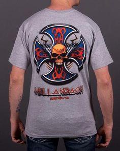 Hellanbach Skull and Pipes Grey T-shirt Biker T Shirts, Mens Tops, Pipes, Clothes, Skull, Grey, Fashion, Outfits, Gray