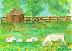 Spring Lambs Chickens Original Watercolor Painting by countrygarden on Etsy