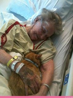 The Hospital let this lady that was living her last few days bring her cat in to visit her...This is the way medicine should be. Meeting all the needs of the patient. This one included the patient getting a little bit of unconditional love from her pet. The smile on this ladies face will put a tear in your eye.