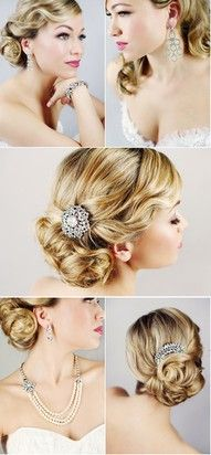 Old Hollywood Glam hair. love the hair combs. Vintage Updo, Vintage Hairstyles, Up Hairstyles, Pretty Hairstyles, Wedding Hairstyles, Wedding Vintage, Vintage Style, Bridal Hair Updo Vintage, Vintage Prom Hair