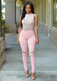 Chic Couture Online - Calla Baby Pink Sleeveless Mesh Bodysuit, $25.00 (http://www.chiccoutureonline.com/calla-baby-pink-sleeveless-mesh-bodysuit/)