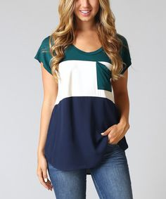 Another great find on #zulily! Green & Navy Color Block Top by Pinkblush #zulilyfinds