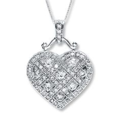 Diamond Heart Necklace 1 1/4 ct tw Round-cut 14K White Gold