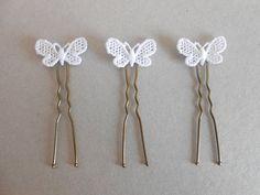 Epingles à cheveux papillons en dentelle