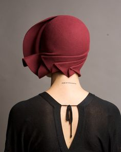 Vintage burgundy hand draped cloche hat by 'yellowfield7' on Etsy.