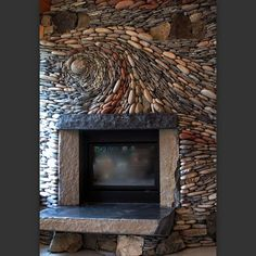 ... one of our Live Edge Fireplace Mantels on this! @ Ancient Art of Stone