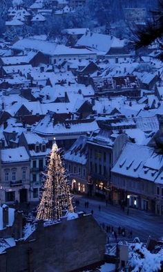 "A very Happy Holiday Season and Thank You to all my wonderful ""All Things Romanian"" Followers ~ Cinda   (Wintery Christmas...Brasov, Romania)"