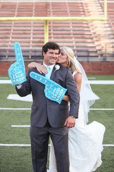 Real Wedding: A Fun Football Themed Wedding Real Wedding: A fun football wedding Chic Wedding, Wedding Bride, Perfect Wedding, Wedding Details, Wedding Blog, Fall Wedding, Wedding Reception, Football Wedding, Sports Wedding