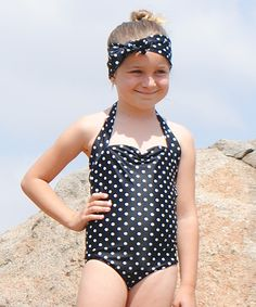 This Red Dolly Swimwear Black & White Polka Dot One-Piece - Toddler & Girls by Red Dolly Swimwear is perfect! #zulilyfinds