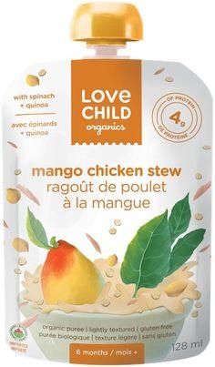 NEW Love Child Organics Savoury Baby Meals: Mango Chicken Stew Sans Gluten, Gluten Free, Mango Chicken, Superfoods, Coconut Milk, Baby Food Recipes, Quinoa, Stew, Spinach