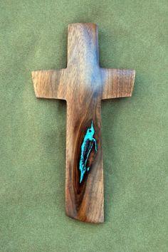 10 high x 5 wide Walnut Cross with Turquoise by BlackFacedSheep, $59.99