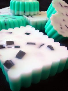 Mint chocolate chip melt and pour soap
