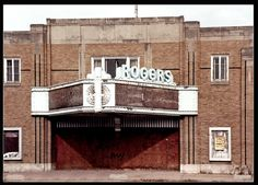 Rogers Theatre  opened in 1937 on Wood Street in Decatur. The theater was designed in Art Moderne style, and sat around 900. It closed in the early '80s.