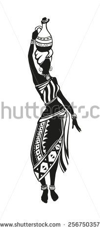 Africa Stock Vectors, Images and Artistic Vector Graphics - Africa Arte Tribal, Tribal Art, African American Art, African Women, Art Sketches, Art Drawings, Africa Tattoos, African Art Paintings, Africa Art