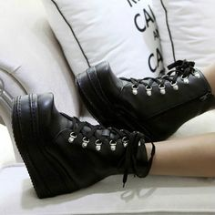 Women's Lace Up Goth Punk Ankle Platform Boots by crunella on Etsy, $49.00