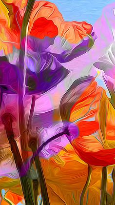 Beautiful use of orange and purple. Colorful Wallpaper, Flower Wallpaper, Wallpaper Backgrounds, Iphone Wallpaper, Wallpapers, Iphone Backgrounds, Art Floral, Benfica Wallpaper, Art Fractal