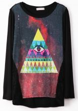 Black Contrast Lace Triangle Eye Print T-Shirt $27.9