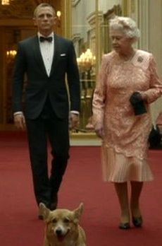 The Queen and James Bond (not forgetting the Corgi) walking through Buckingham Palace. From the Opening Ceremony of the 2012 London Olympic Games.  This was classic!!
