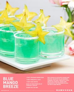 Blue Mango Breeze cocktail recipe 1 part Cruzan® Mango Rum, 1 part Pineapple juice, 1 part Soda Water, Dash of DeKuyper® Blue Curacao, Sugar for the rim. Beach Drinks, Party Drinks, Fun Drinks, Alcoholic Drinks, Beverages, Refreshing Drinks, Summer Cocktails, Cocktail Drinks, Cocktail Recipes