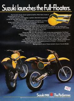 Suzuki Full-Floater Ad - I really wanted one of those Suzuki Dirt Bikes, Honda Dirt Bike, Mx Bikes, Motocross Bikes, Vintage Motocross, Cool Bikes, Motocross Racer, Enduro Motorcycle, Motorcycle Posters