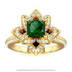 Lotus Engagement Ring with Green Tourmaline and Diamond #gold #engagement #ring