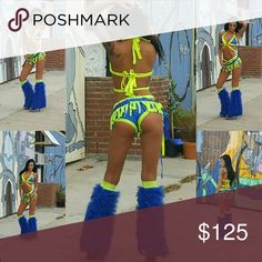 Rave GoGo Festival Fun Outfit Electric Blue and Electric yellow criss cross top,sequin embellishments, high sided blue booty shorts w matching wrap skirt and matching colored boot covers..can be sold separately also Other