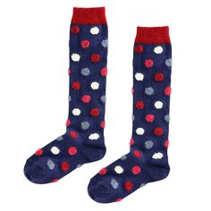 Doré Doré Navy blue spotted knee socks Blue | Melijoe.com