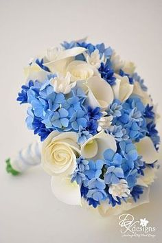 Wedding Bouquet - Blue & White.  Silks, felt flowers?  Pretty.