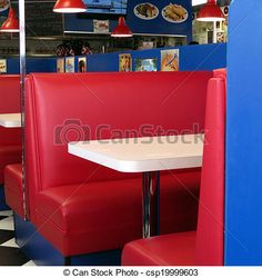 These red leather booths at the diner take us back to the '50s.