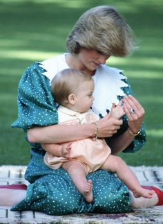 Princess Diana in New Zealand | Princess Diana Playing With Her Baby Son, Prince William, As He Sits ...