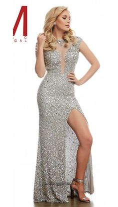 Platinum Silver Sexy Sequin Long Gown