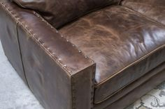 Gorgeous chocolate brown color distressed sectional with comfort and great style. Excellent craftsmanship and made in the U. Sectional Sofa With Recliner, W 6, Home Living Room, Home Furnishings, Accent Chairs, Track, Chocolate, Leather, Furniture