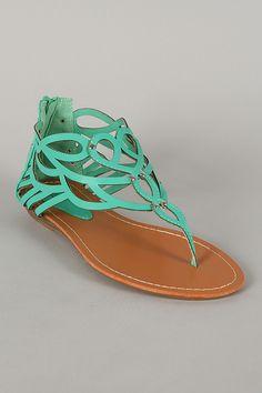 Shari-05 Cut-Out Thong Flat Sandal $20.20