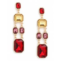 Ruby Gem Cascade  These stunning earrings evoke a wonderfully regal vibe, by way of the graphic Art Deco era. Plus, that geometric cascade of oversized emerald-cut gems—in vivid red, pink and citrine—is simply gorgeous. $34