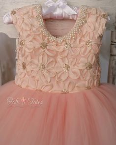 "Blush and gold  flower girl tutu dress with big bow - ""Estelle"" tutu dress  - ""At First Blush"" Collection"