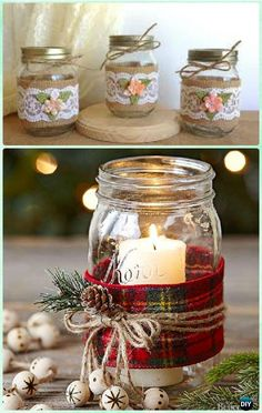 how to wrap a jar gift Mason Jar Christmas Gifts, Mason Jar Gifts, Mason Jar Candles, Christmas Diy, Candle Centerpieces, Scented Candles, Pot Mason Diy, Pots Mason, Baby Food Jar Crafts