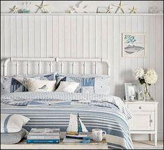Use shelf in bed room to display beach treasures - Coastal Cottage